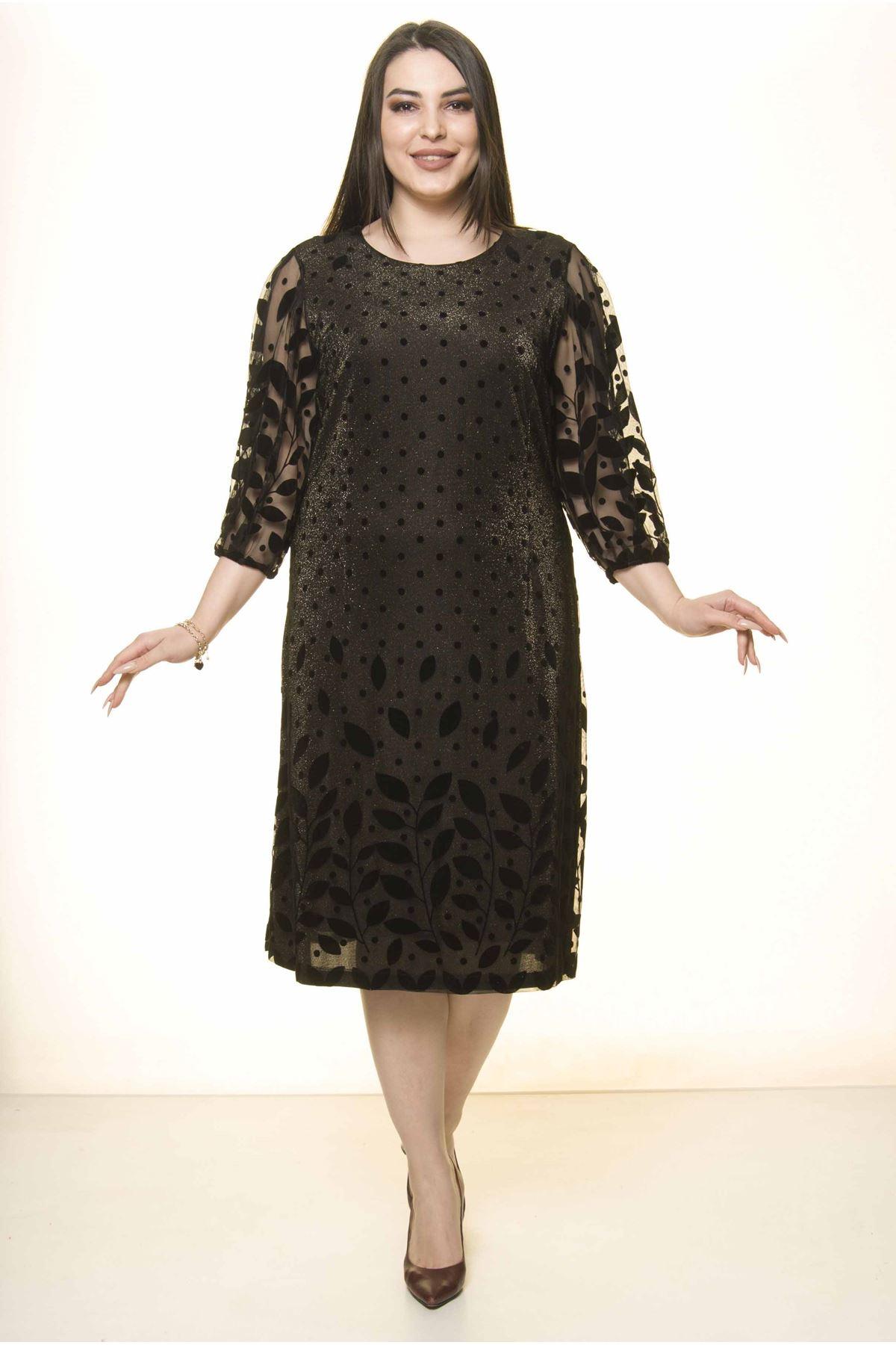 Siyah Dore Astarlı Elbise 30Y-1573