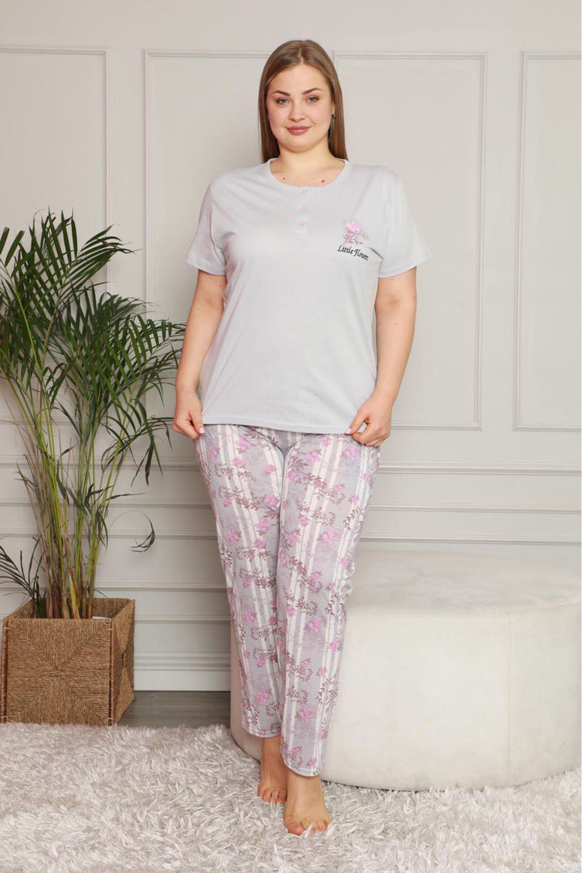 Yazlık Geniş Kesim Gri Pijama Takımı 26B-1620