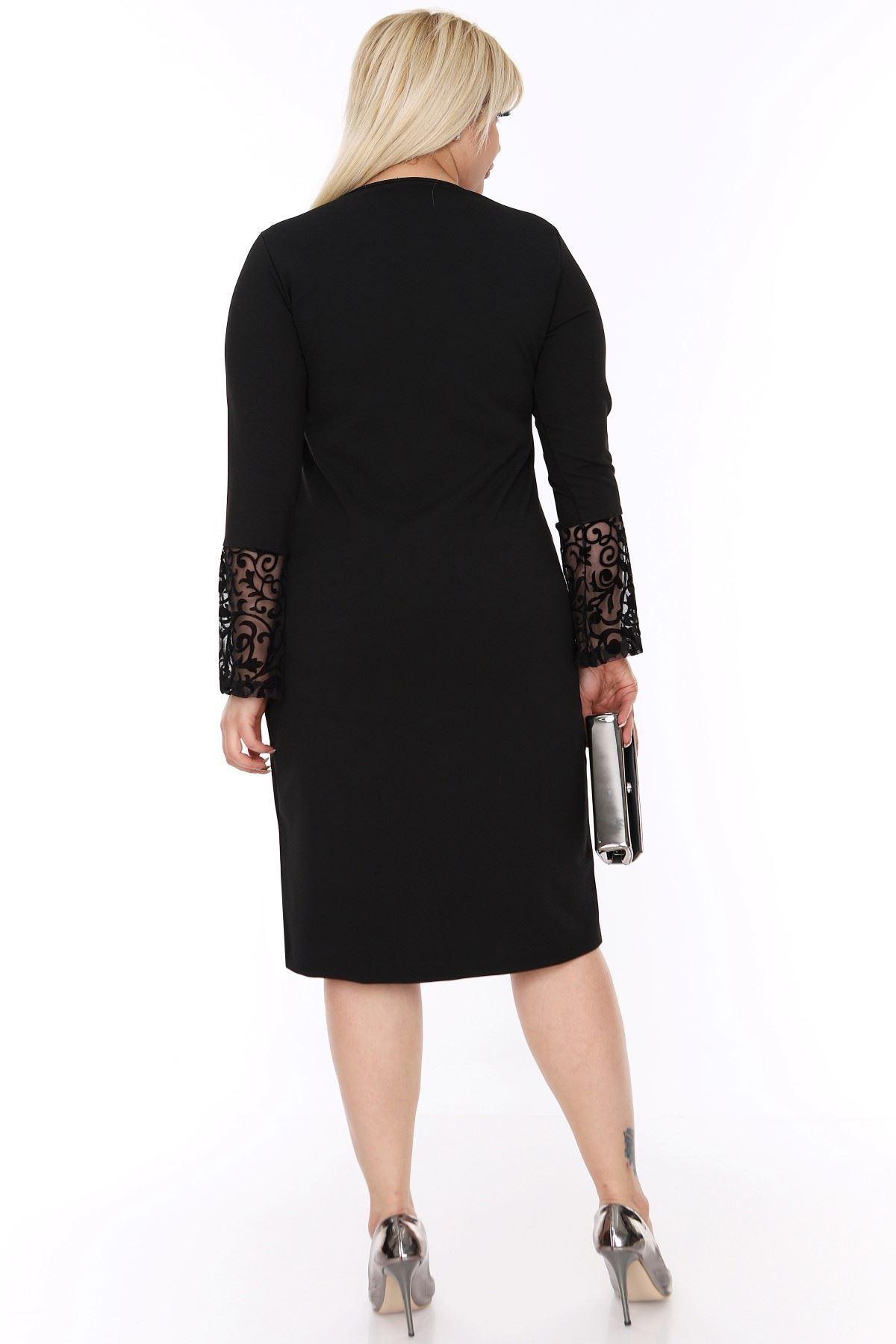 İspanyol Kol Siyah Elbise 4D-88249