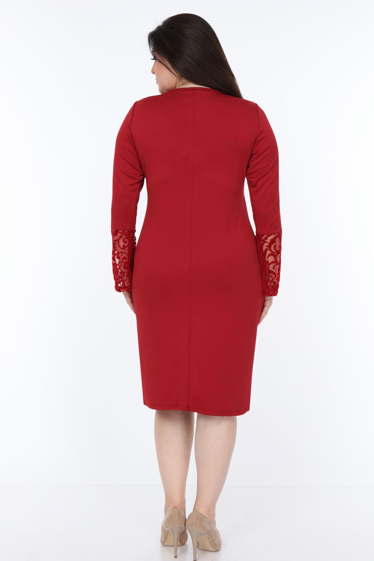 Bordo İspanyol Kol Elbise 2E-1070