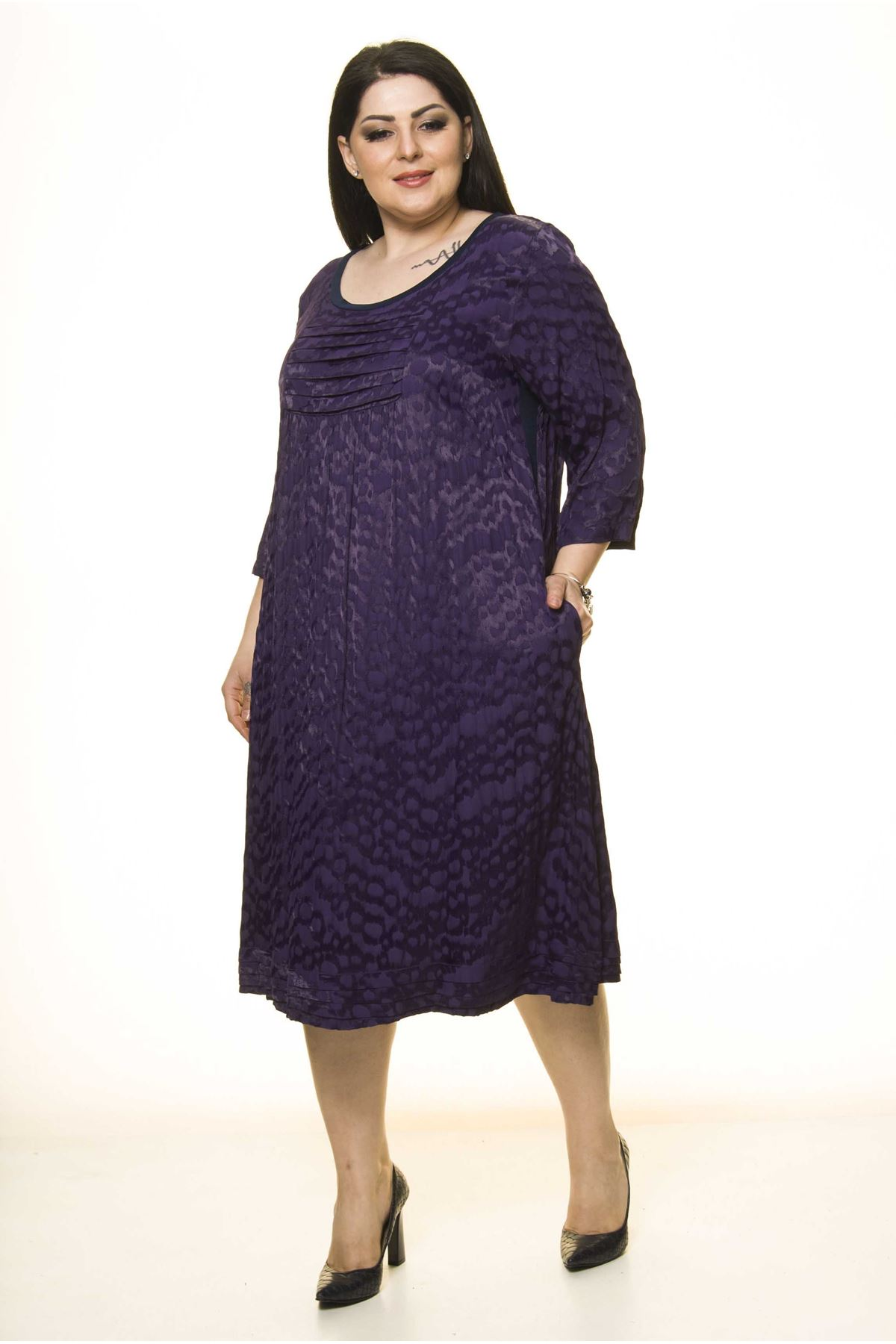 Büyük Beden Mor Elbise G10-1660