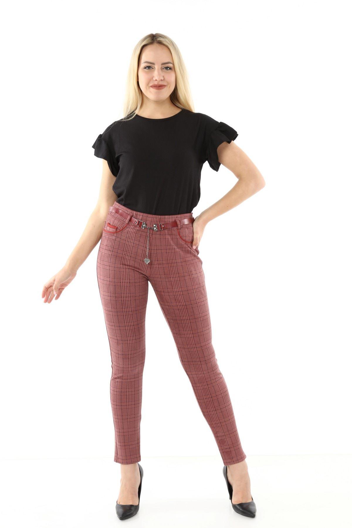 Ekoseli Kemerli Pantolon L1-1692