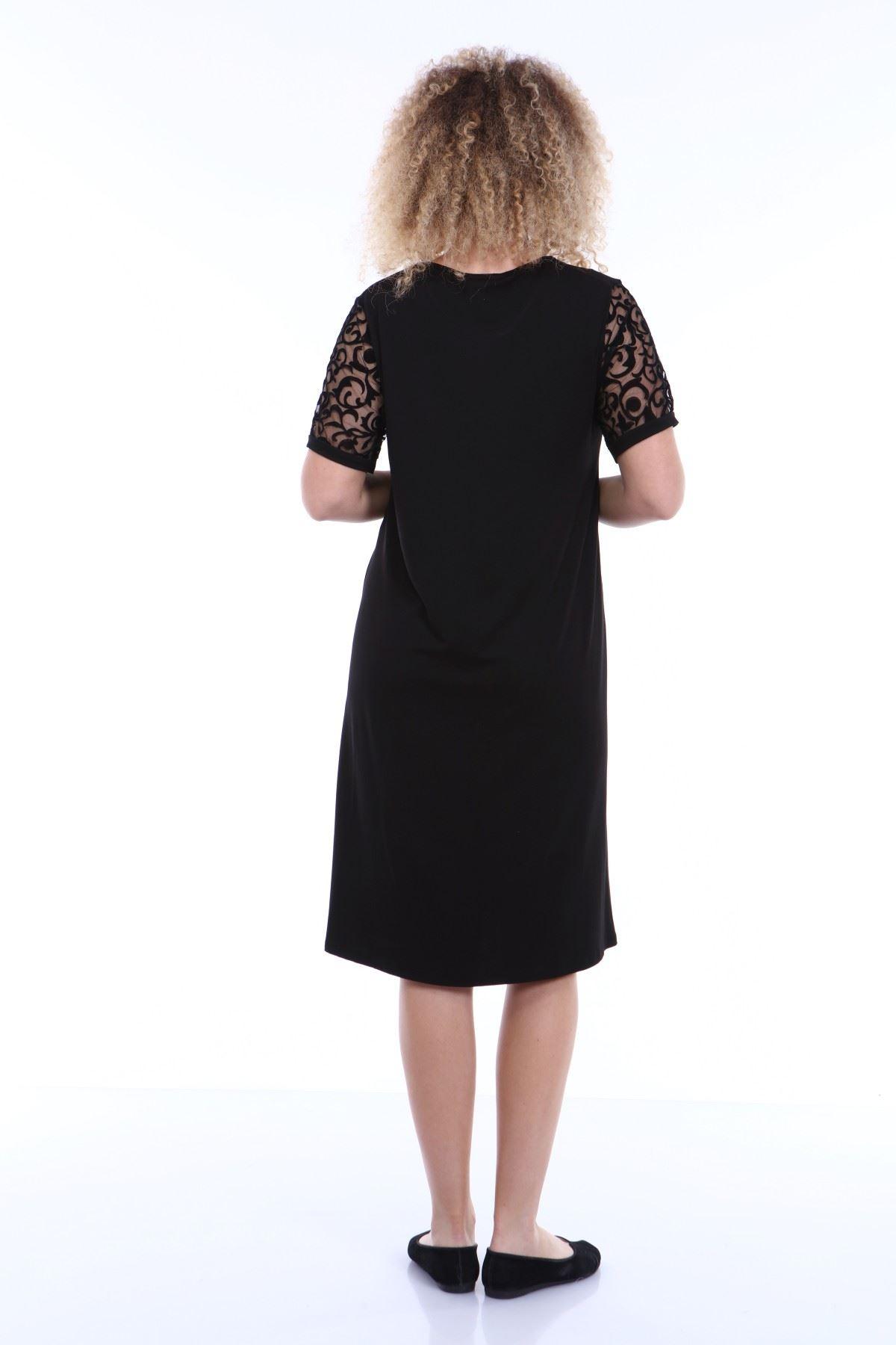 Kol Detaylı Siyah Elbise 4C-1793