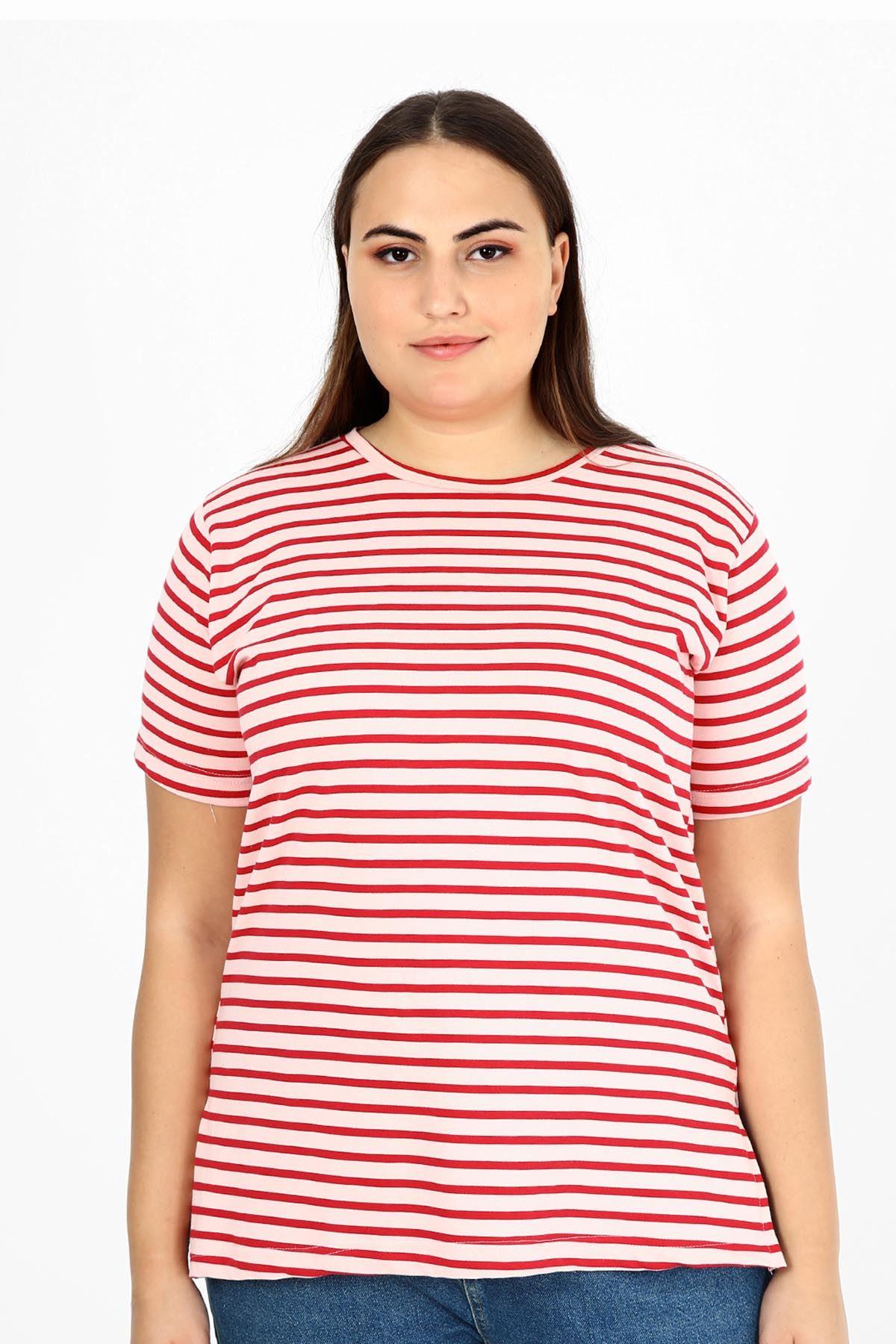 Çizgili Geniş Kalıp T-shirt 22C-1794